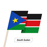 South Sudan Ribbon Waving Flag Isolated on White. Vector Illustration.