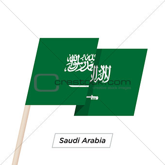 Saudi Arabia Ribbon Waving Flag Isolated on White. Vector Illustration.
