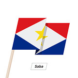 Saba Ribbon Waving Flag Isolated on White. Vector Illustration.