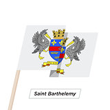 Saint Barthelemy Ribbon Waving Flag Isolated on White. Vector Illustration.
