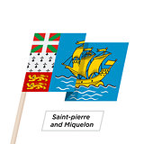Saint-pierre and Miquelon Ribbon Waving Flag Isolated on White. Vector Illustration.