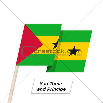 Sao Tome and Principe Ribbon Waving Flag Isolated on White. Vector Illustration.