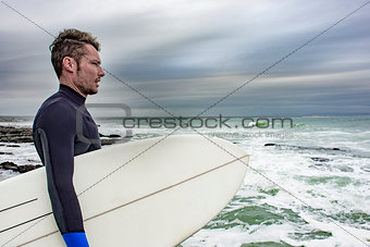 Portrait of Surfer Viewing the Ocean