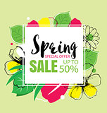Spring sale banner template with colorful flower.Can be use vouc