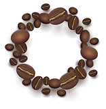 Roasted Coffee beans round frame