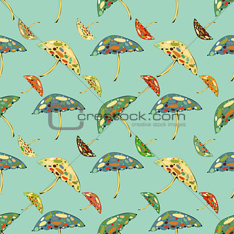 Abstract umbrellas seamless pattern background.