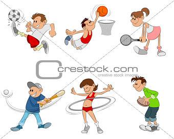 Six children playing