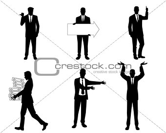 Six businessmen silhouette