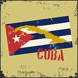 Vintage style Cuba map. Cuba flag.