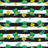 Ireland Saint Patrick hat on striped seamless pattern.