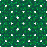Clover trefoil green leaf seamless dotted vector pattern.