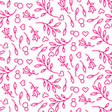 Pink line floral 8 March seamless pattern.