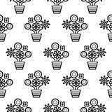Outline flowers in pots seamless pattern texture.