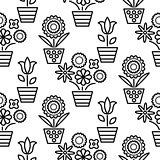 Black and white line flower pots seamless vector.