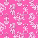Pink and white line flower pots seamless vector.