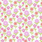 Seamless vector pattern with bright line flowers on white.