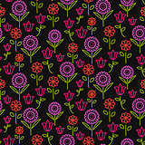 Seamless vector pattern with bright line flowers on black.