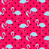 Blue and pink flamingo silhouette dotted pattern vector.