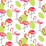 Summer flamingo and leaves seamless pattern.