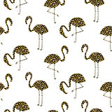 Flamingo gold glitter silhouette seamless vector texture.
