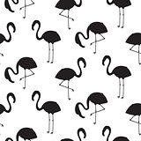 Flamingo black silhouette seamless vector texture.