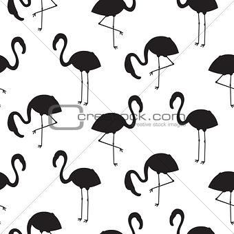 Flamingo black silhouette seamless vector texture.