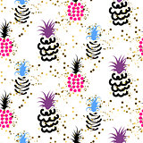 Abstract pineapple with gold glitter bright colors pattern.