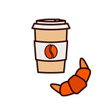 Coffee to go and croissant vector icon illustration.