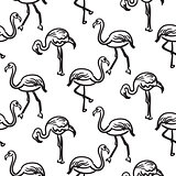 Flamingo black outline sketch seamless vector texture.