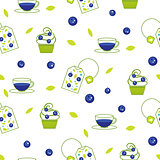 Vector tea bag blueberry seamless pattern.