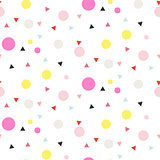 Confetti seamless white vector background.