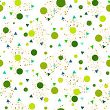 Confetti seamless greenery glitter white vector background.