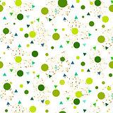Confetti seamless greenery glitter white vector background.