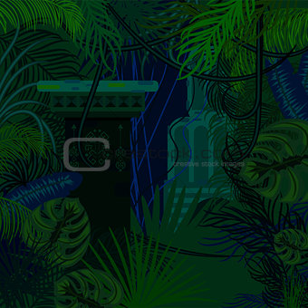 Thicket foliage jungle nature background.