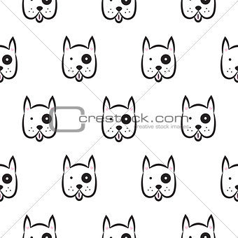 Boxer dog seamless vector monochrome pattern.
