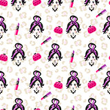 Glam girl sketch beauty seamless pattern.