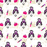 Chic girl face and purses fashion seamless pattern.