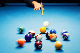 pool billiard break shot. motion blur