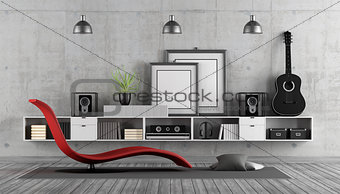 Modern room to listening music