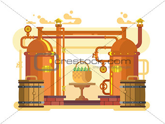 Brewery beer design flat
