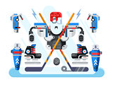 Hockey equipment set