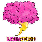 Cartoon Style Brainstorm Icon Design