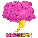 Cartoon Style Brainstorm Icon Design