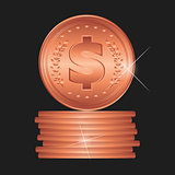 Bronze coin. Detailed vector illustration.
