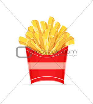 French fries potatoes in paper wrapper.