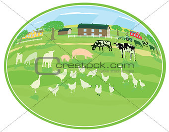 Country life with animals illustration