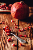 Pomegranate Seeds in Spoon