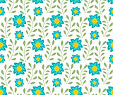 Floral seamless pattern. Flowers repeating texture. Botanical endless background. Vector illustration.