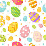 Easter eggs cute seamless pattern, endless backdrop. Colorful  background, texture, digital paper. Vector illustration.