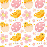 Cute Easter seamless pattern with birds and eggs. Endless Spring background, texture, digital paper. Vector illustration.